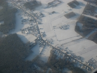 Besneeuwd landschap, België, bij Zaventem